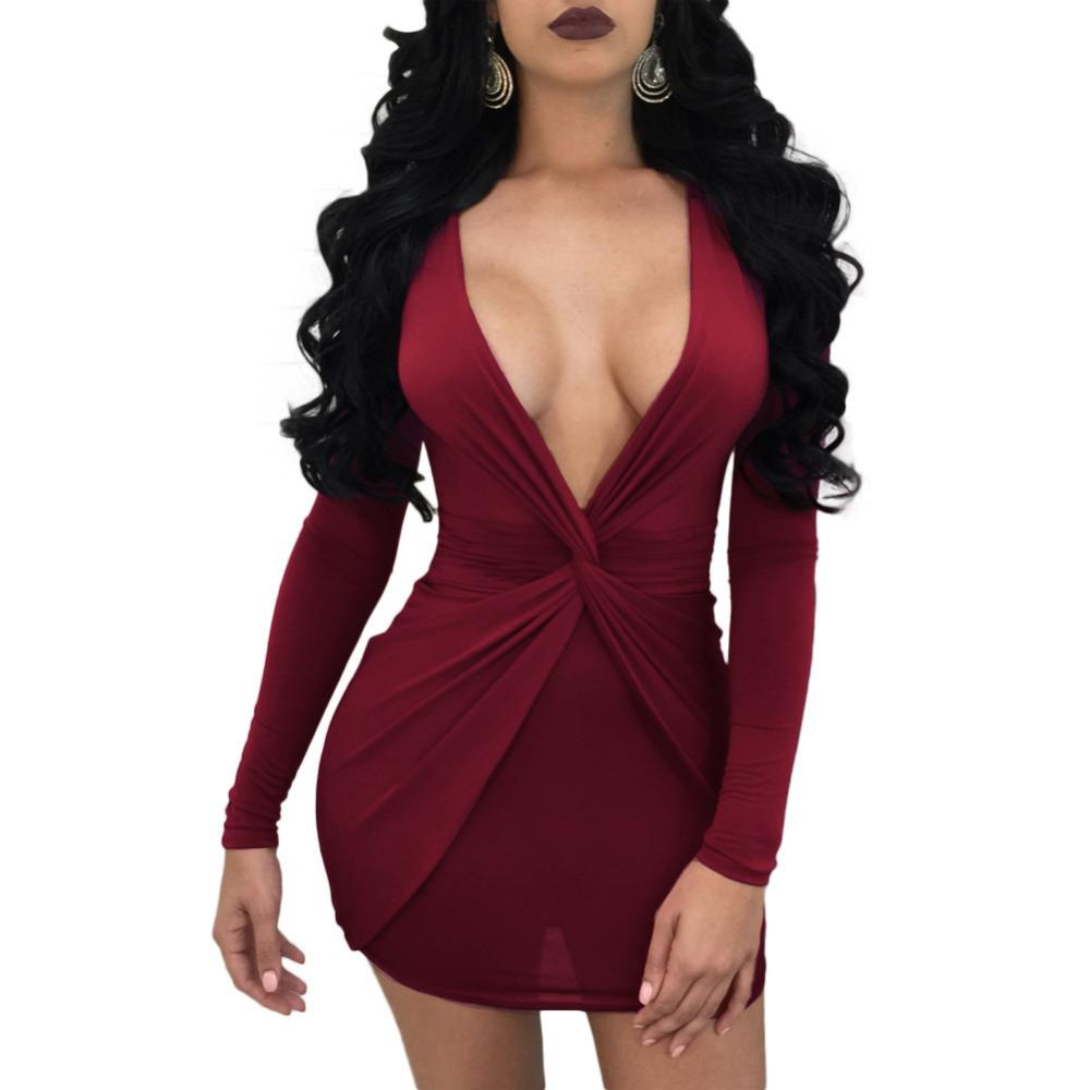 7fd8e033a751 Sexy Women Twist Front Deep V Neck Bodycon Dress Long Sleeve Red Bodycon  Bandage Dress Party Club Slim Mini Dress Female 2019 Buy Party Dresses  Green ...