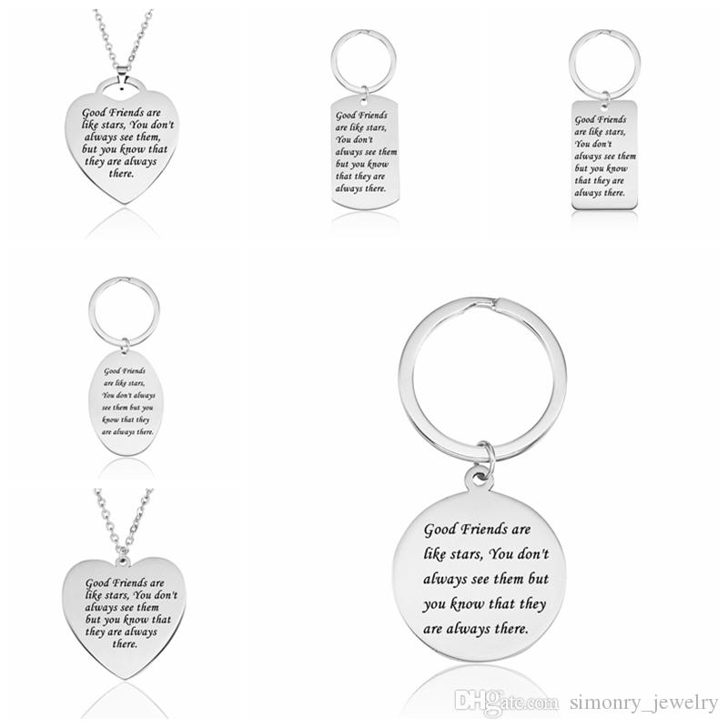 Wholesale Good Friends Quotes Pendant Necklace Stainless Steel