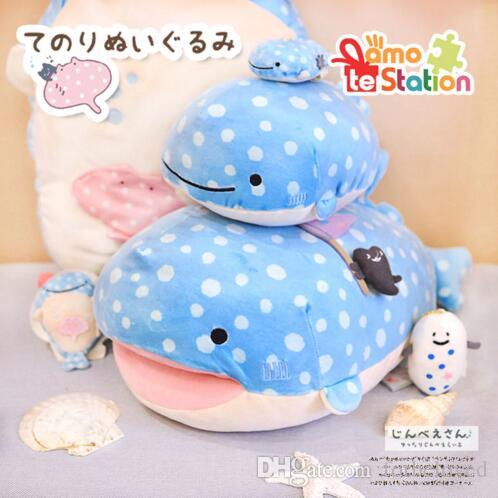 High quality Whale Doll blue whale Animal Stuffed Toy pillow bolster Cute San-X Plush Toy Doll Shark Kids Soft Toys bolster