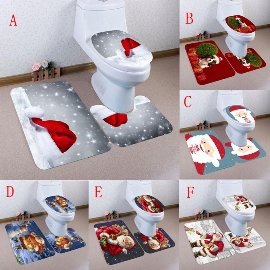 2019 Bath Toilet Mat Sets Bathroom Christmas Non Slip Pedestal Rug