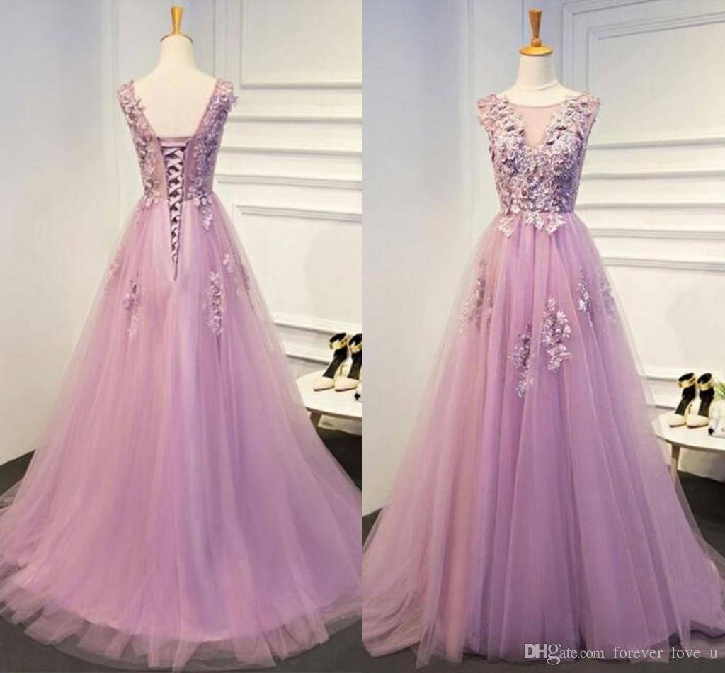 574e6ee1499 A Line Soft Tulle Prom Dresses Sheer Neck 3D Flowers Lace Appliques Beaded  Illusion Top Lace Up Corset Back Evening Gowns Sweep Train Betsy And Adam  Prom ...