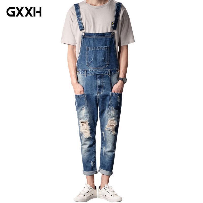 a4d048fdf 2018 Nouveau Style Mode Homme Bleu Denim Salopette Casual Hommes Thin Sling  Vêtements de Travail Jeans / Hommes Taille S-XXXL 4XL 5XL