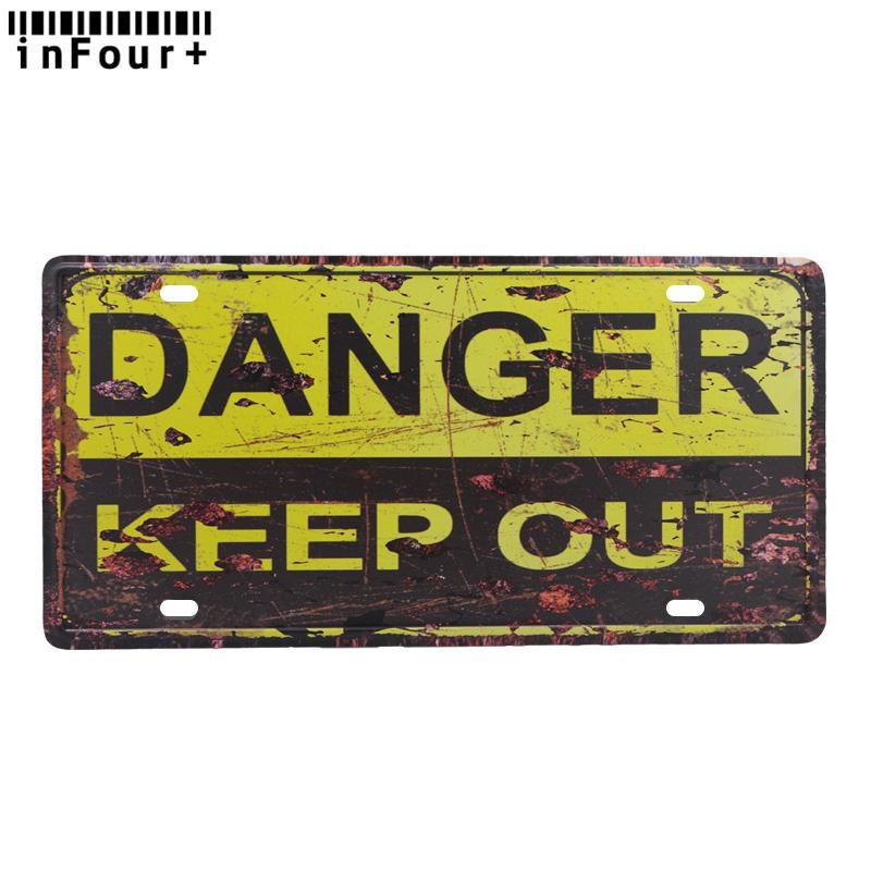 2018 danger keep out car license plate vintage home decor metal tin