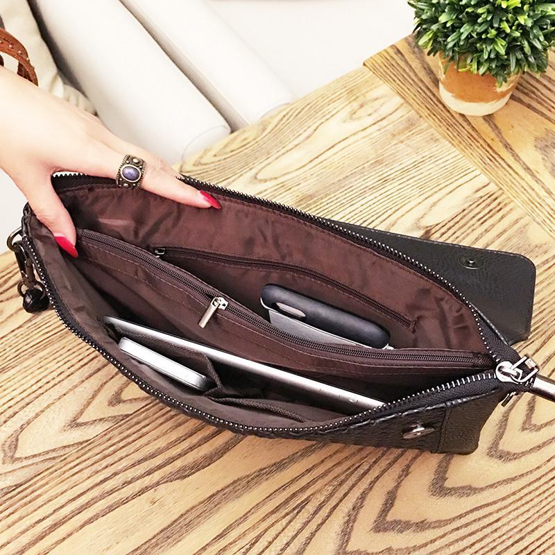 Designer Oversized Clutch Bag Black Weave Plaid Soft PU Leather Korean Fashion Clutch Handbag Makeup Organizer sac a main femme