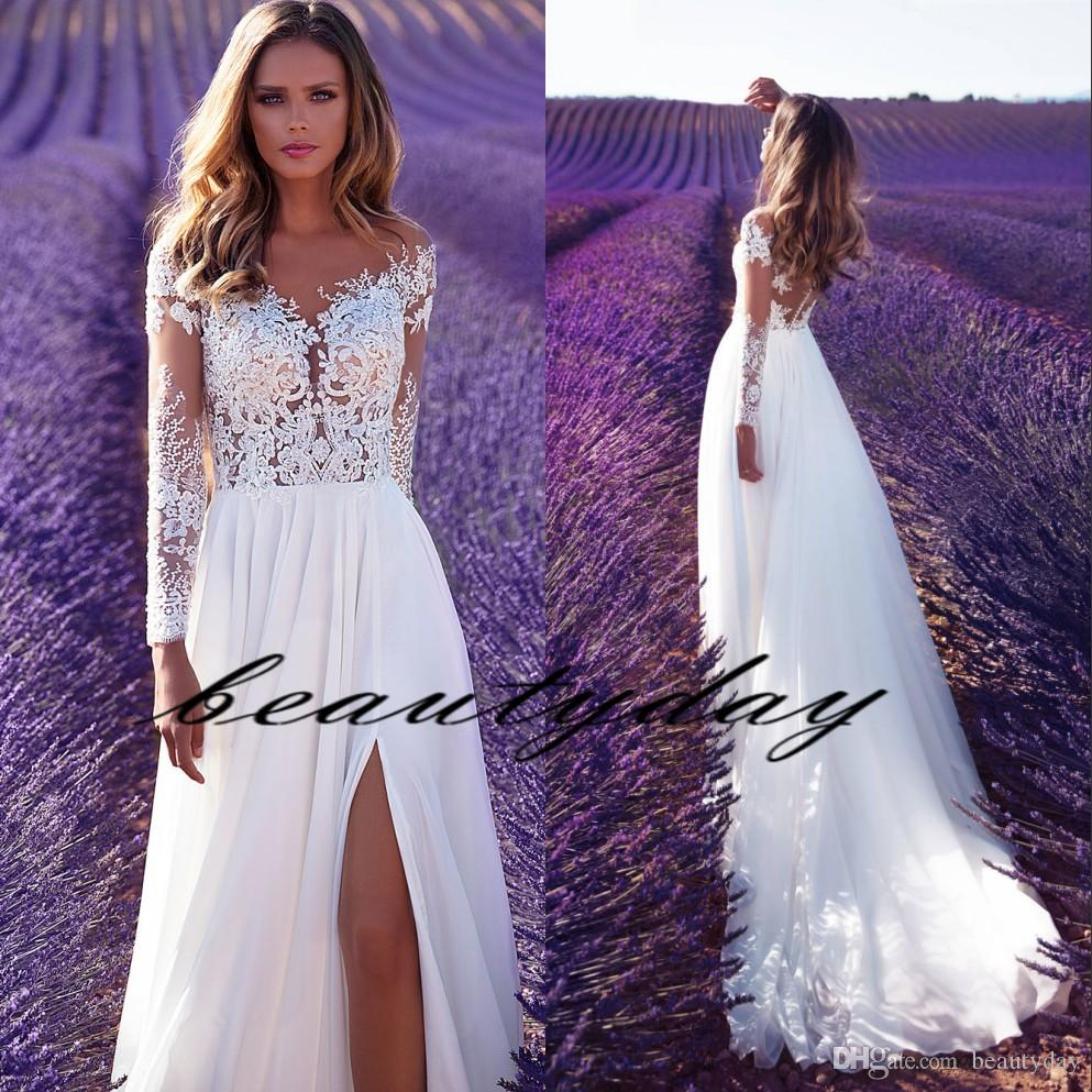 Milla Nova 2019 Wedding Dresses Beach A-line Wedding Dress Maternity Pregnant Bridal Gowns Long Sleeve White Lace Chiffon Split Boho