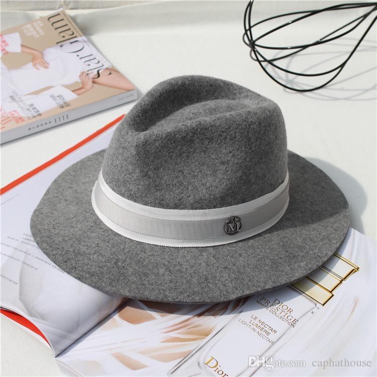 Acquista Moda M Label Brand Design Inverno Uomo Donna Unisex Lana Panama  Top Cappello A Tesa Larga Spedizione Gratuita A  14.88 Dal Caphathouse  c74f972e0344