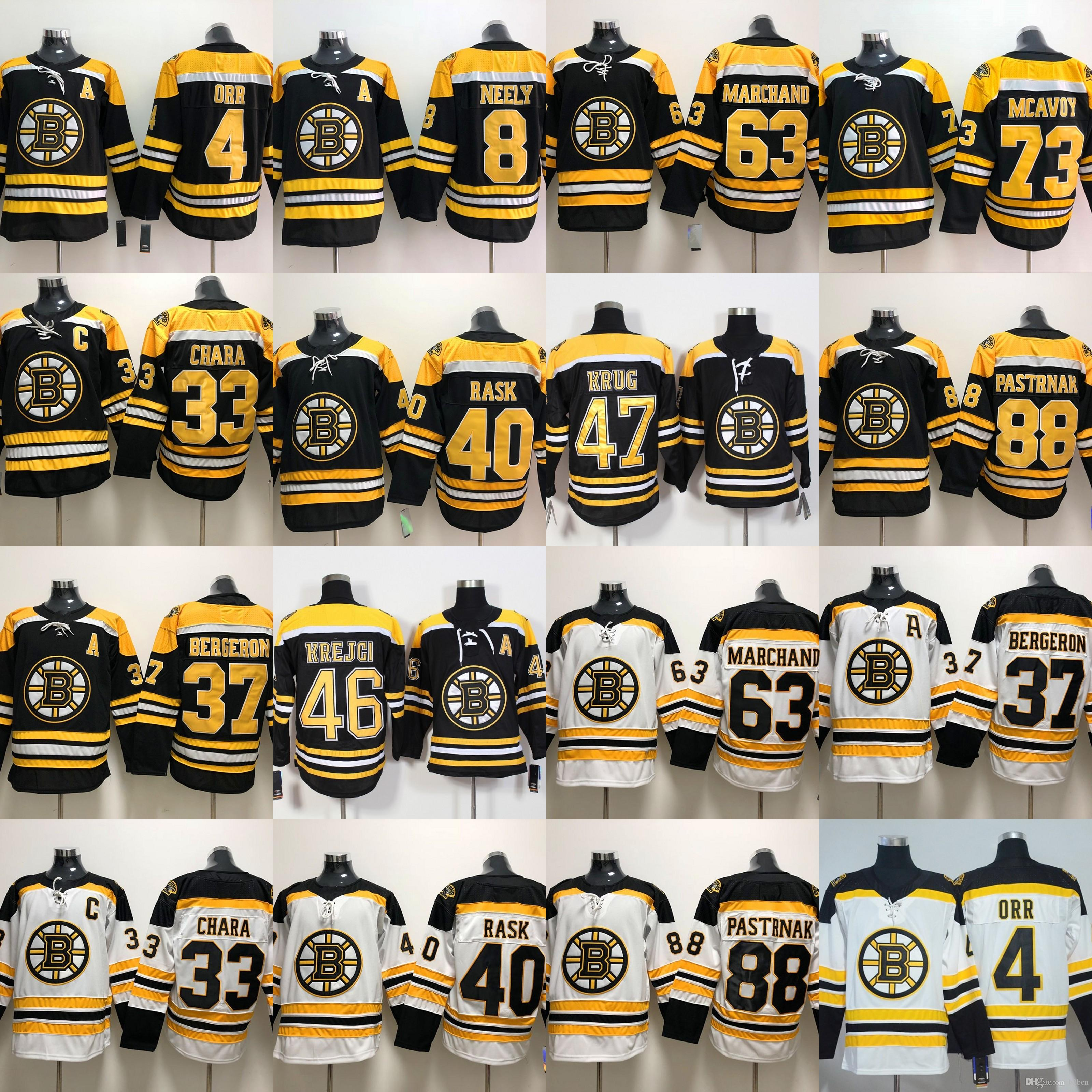 b4459bb93 2019 Youth Men Boston Bruins 4 Bobby Orr 33 Zdeno Chara 37 Patrice Bergeron  40 Tuukka Rask 46 Krejci 63 Brad Marchand 88 David Pastrnak Jersey From  B2bcn