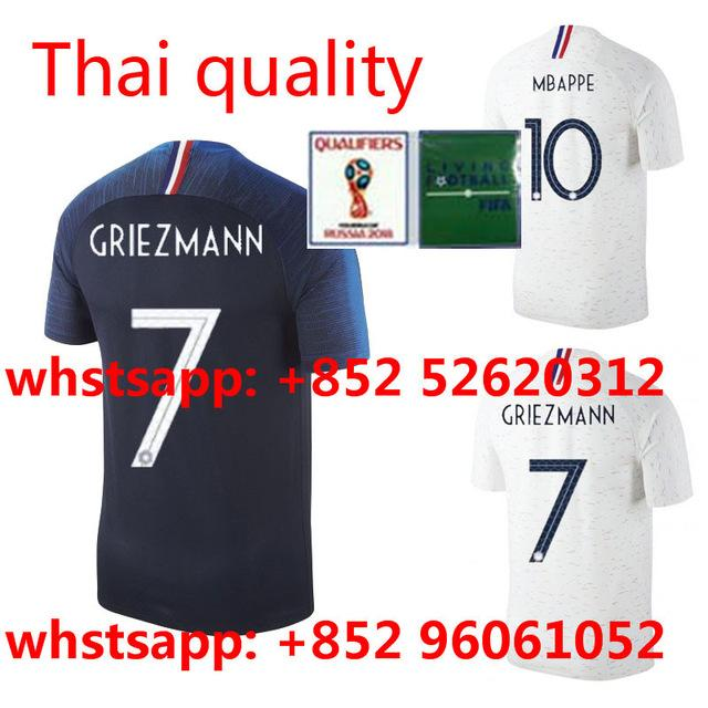 Compre 2018 França Adulto Camisetas De Futebol Dos Homens PAYET GRIEZMANN  POGBA Mbappe KANTE Causul Camisas França Futebol Mundo Branco Camisa XXXL  De ... 283a3b5b24adf