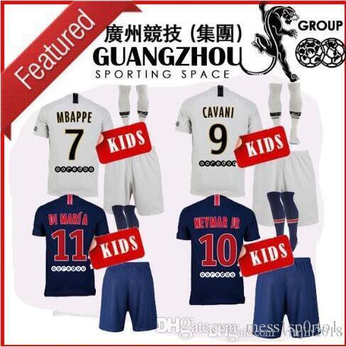 7108bffced90e Kids Kit 18-19 Psg Soccer Jersey Home Away 2018 Mbappe DI MARIA T ...