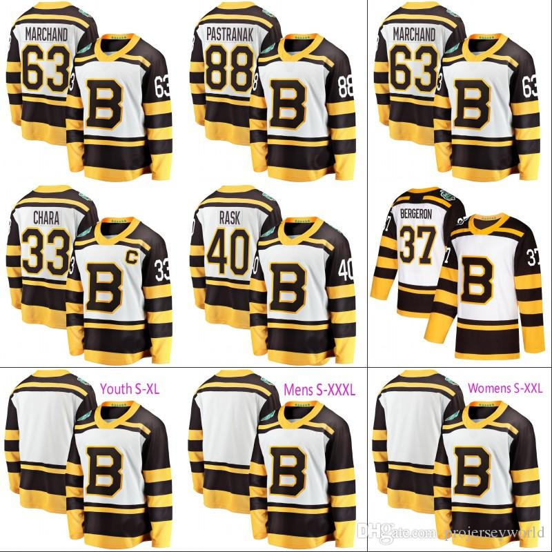 88df33054 Mens Boston Bruins 2019 Winter Classic Jersey 88 David Pastrnak Boston  Bruins 33 Zdeno Chara 63 Brad Marchand Stitched Hockey Jerseys UK 2019 From  ...