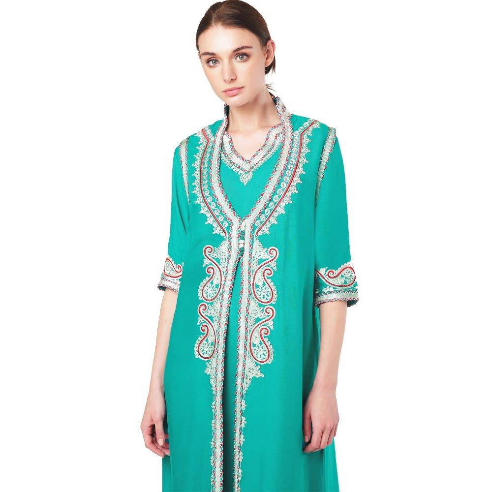 Women islamic clothing Maxi Long sleeve Dress moroccan Kaftan Caftan abaya tunic Muslim gown turkish ethnic embroidery dress