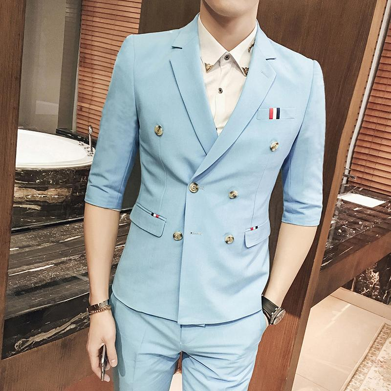 2019 Double Breasted Suit Summer Suits Men Summer Blazers Slim Fit