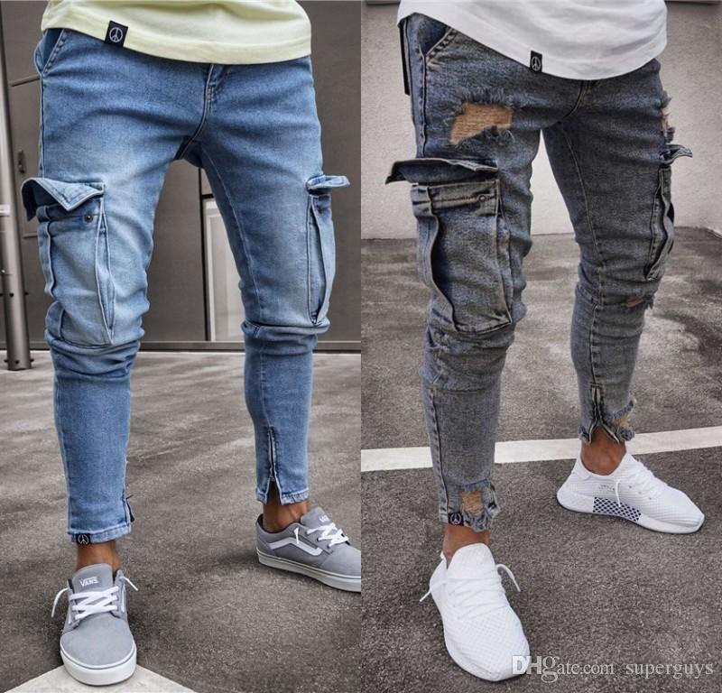 d1c8f6c32dd 2018 Men's Jeans Stretchy Ripped Skinny Biker Jeans Cartoon Pattern ...