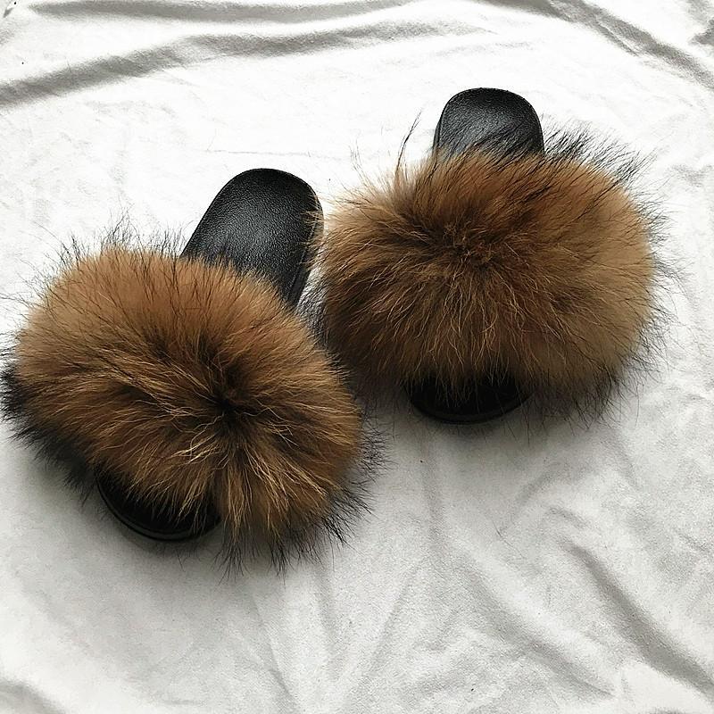 9bdc68cebcdcf Women s Real Fox Fur Slides Flip Flops Flat Soft Fur Sliders Slippers  Wholesale