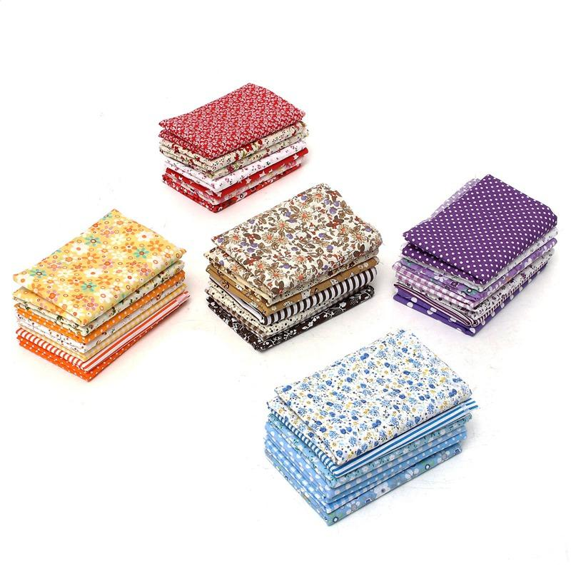 KiWarm 7Pcs/set Multicolor Quilting Fabric Cotton Cloth Table Patchwork Textiles for Sewing Handmade DIY Craft Material 49*49cm