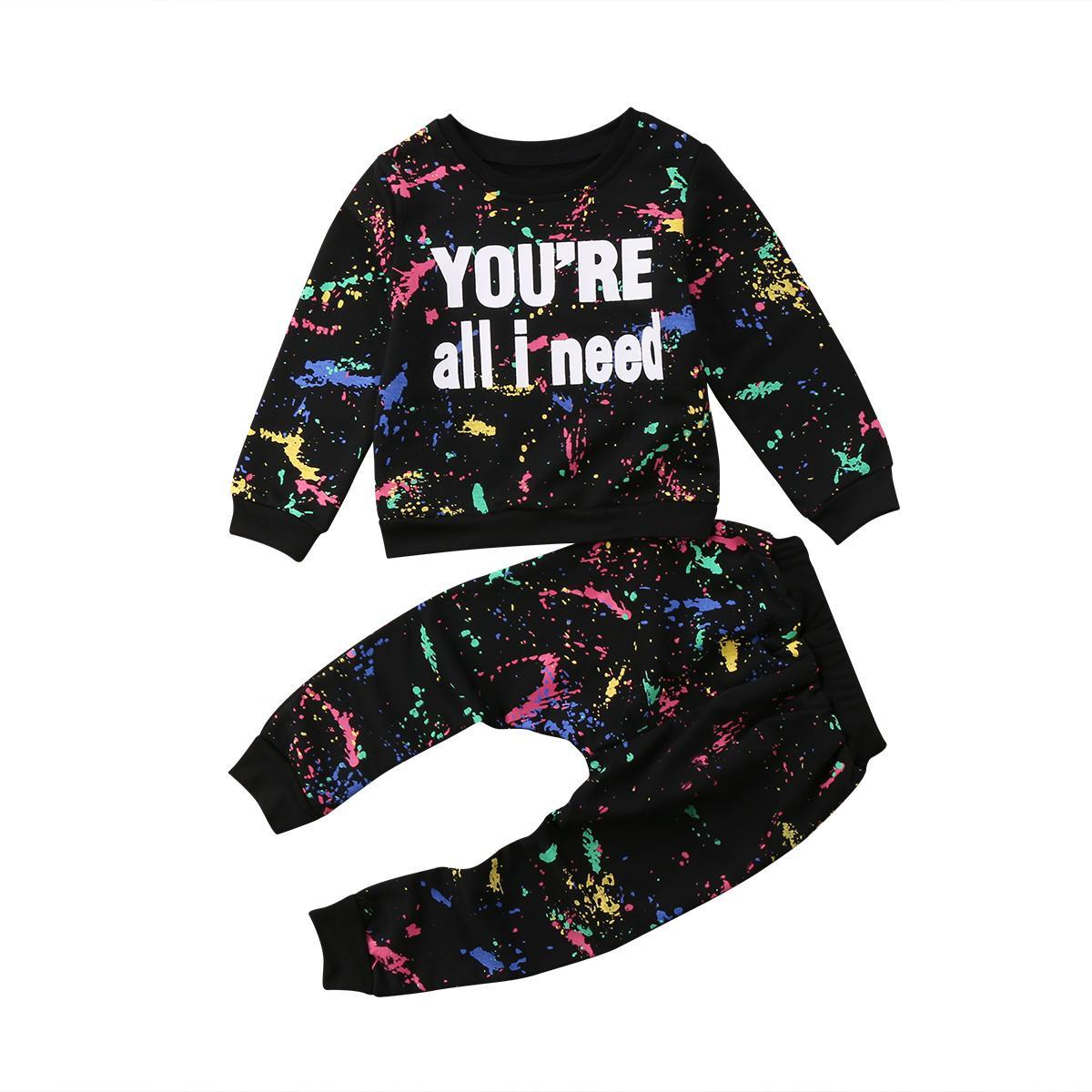 Satın Al 2 Adet Renkli Boya Yürüyor çocuk Kız Bebek Kazak Tişört En
