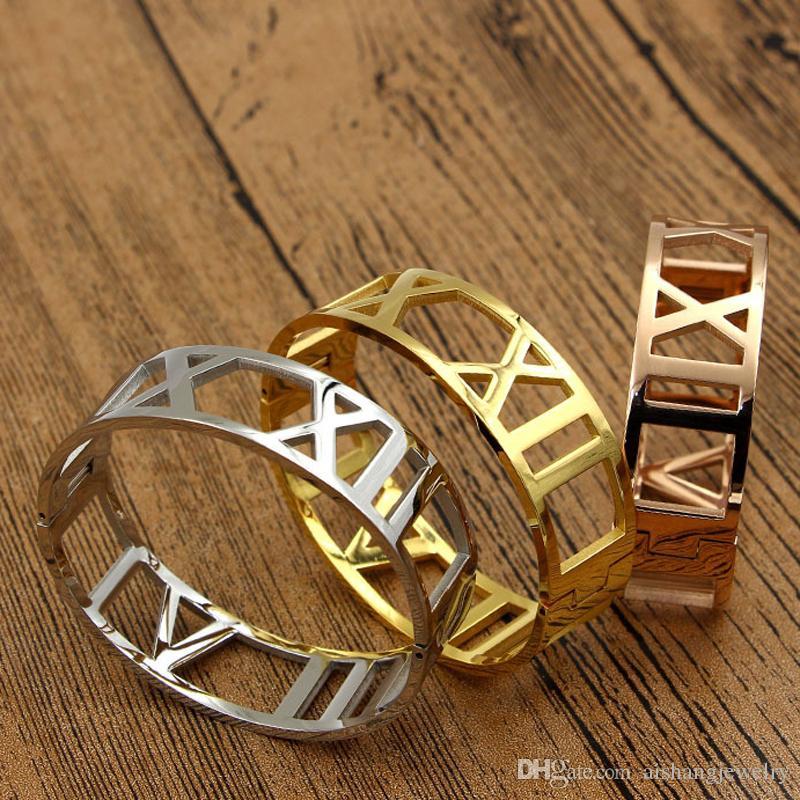 PB14 moda yeni kadın takı roma numarası boyutu yaklaşık 17 cm bileklik Hollow stil kadınlar için 18 K altın kaplama hediye