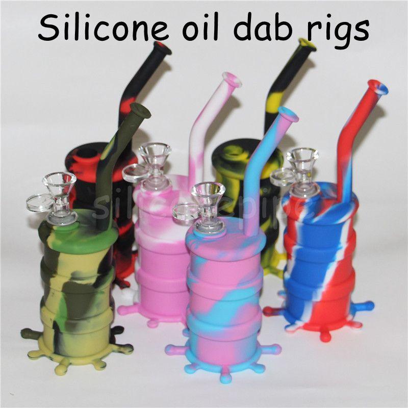 Silicone siliconico tubi d'acqua in silicone arrivel Bong siliconico rimovibile in silicone Bong lungo bong in vetro Altezza 8.26