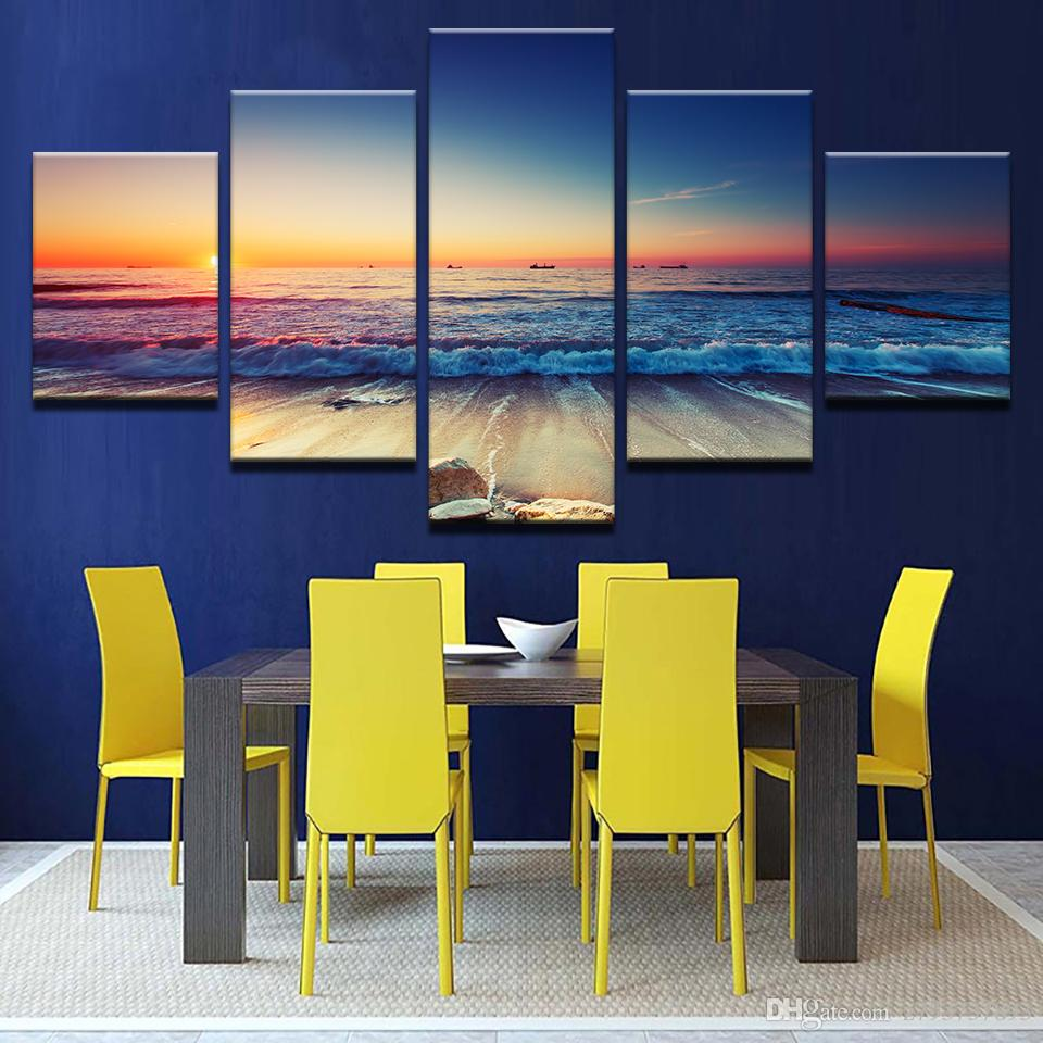 Canvas Painting Poster Modern 5 Panel Sea Sunrise Landscape Wall Art ...