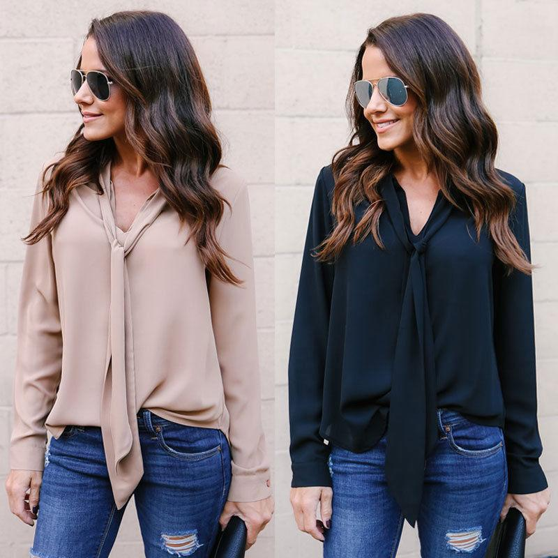 40d06d245cb Fashion Summer Women T-shirt Casual Chiffon Long Sleeve Ladies Bandage Loose  Tops Autumn Women Clothes T-Shirts Online with $31.87/Piece on Qinfeng06's  ...