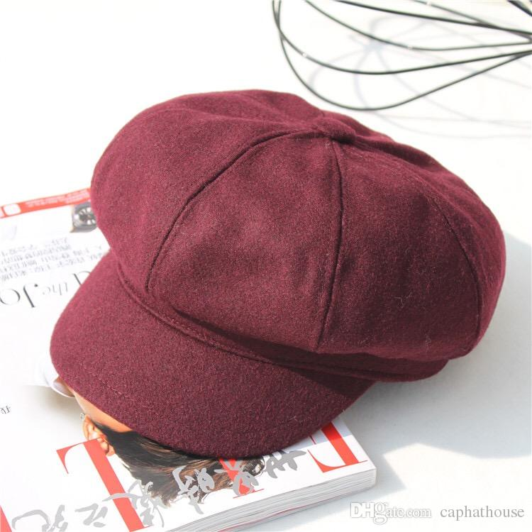 3c939af716d Men And Wovmen Unisex Newsboy Caps Casquette Wool Warm Winter ...