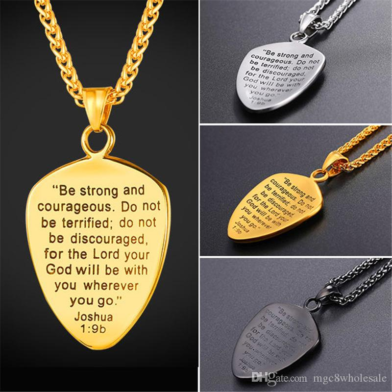 Wholesale u7 shield of faith pendant necklace joshua 19b engraved wholesale u7 shield of faith pendant necklace joshua 19b engraved shield stainless steel religious gift inspirational jewelry gp2777 pendants gold necklace aloadofball Images