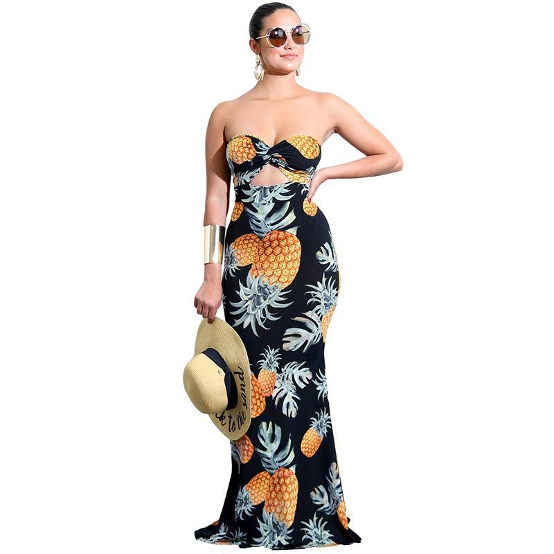 969db3f5b6 Compre Tubo De Las Mujeres Top Vestido Largo Piña Imprimir Twist Front Cut  Out Cintura Alta Clubwear Casual Vestido De Fiesta De Noche Vestidos De  Festa A ...
