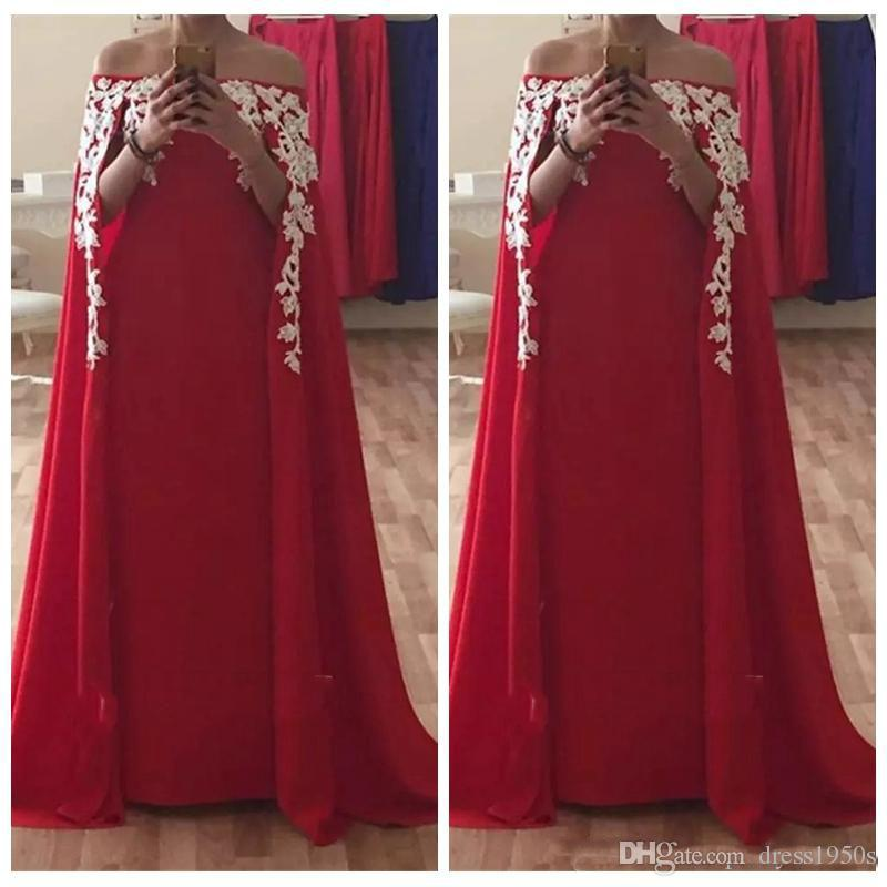 2018 Bateau Arabic Style Sexy Long Red Evening Dresses Ladies Formal Party Gowns Lace Appliques Prom Party Dress Custom Made Plus Size