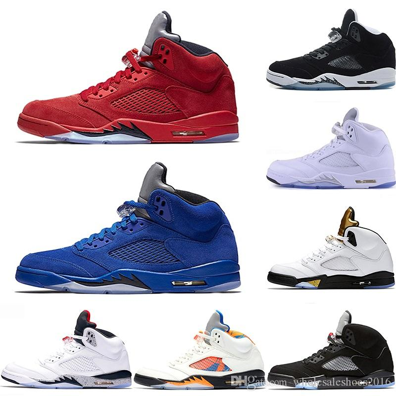 Discount Mens 5 5s Basketball Shoes International Flight Blue Suede OG Metallic Black Oreo White Cement Fire Red Sport Sneaker Size 41-47