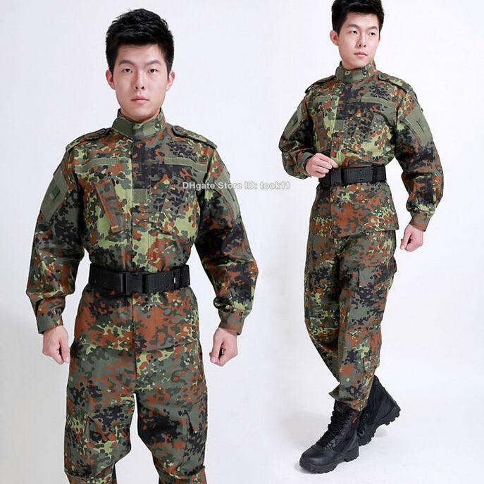 German flecktarn camo military uniform us army camouflage suit navy seal  fatigue tactico clothing combat pants tactical jacket ww2 usmc wwii