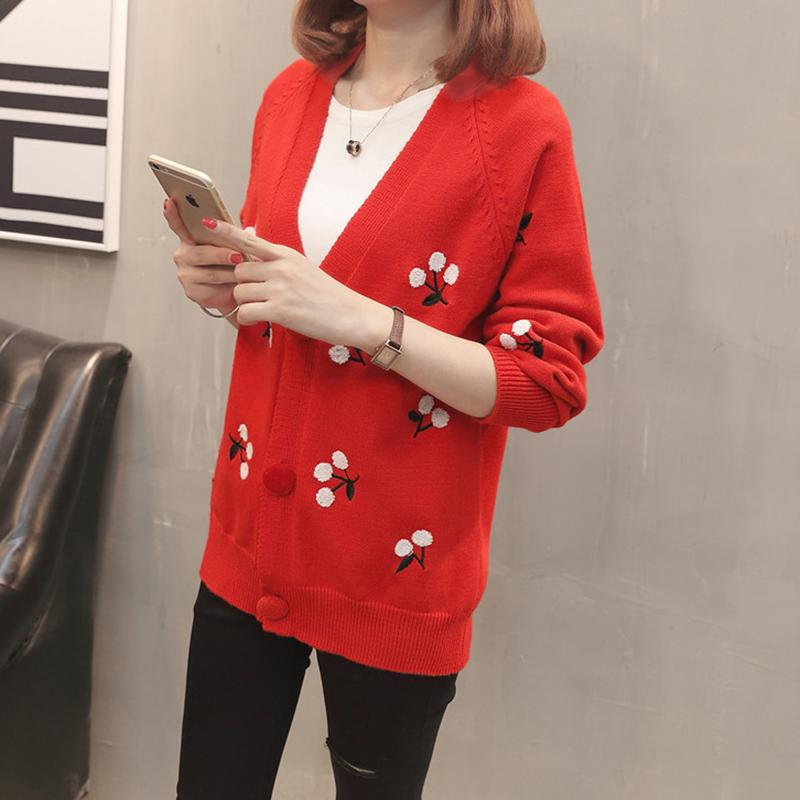 2019 Women S Cardigan Spring Sweater Coat 2018 New Arrival Fashion Floral  Sweaters Knitted Outwear Ladies Cotton Red Cardigans Tops From Aprili 3625974a1