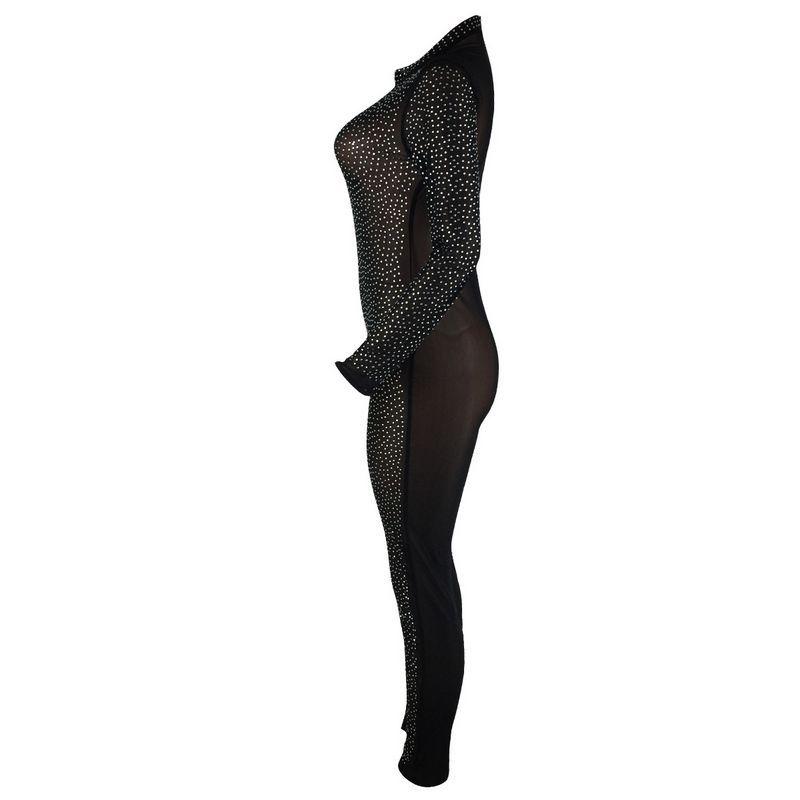 Rhinestones Net Sexy Women Jumpsuit Bodycon Playsuit CHEAPEST F435 Long Sleeve Glitter Jumpsuit Romper Black Beige