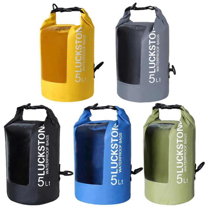 1922b19ce001 2018 Outdoor Waterproof Colorful 5L 10L 20L Water Sports PVC Drift Backpack  Transparent Window Lightweight Diving Floating Dry Bag From Kuyee