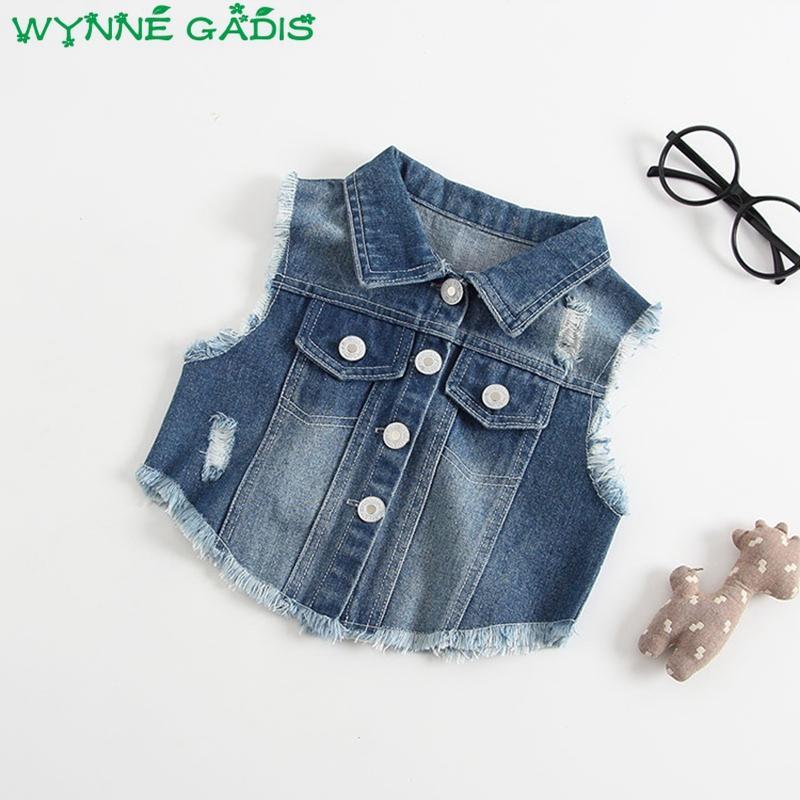 bceb7f3f1 2018 Autumn Baby Girls Denim Jeans Sleeveless Lapel Collar Vest ...
