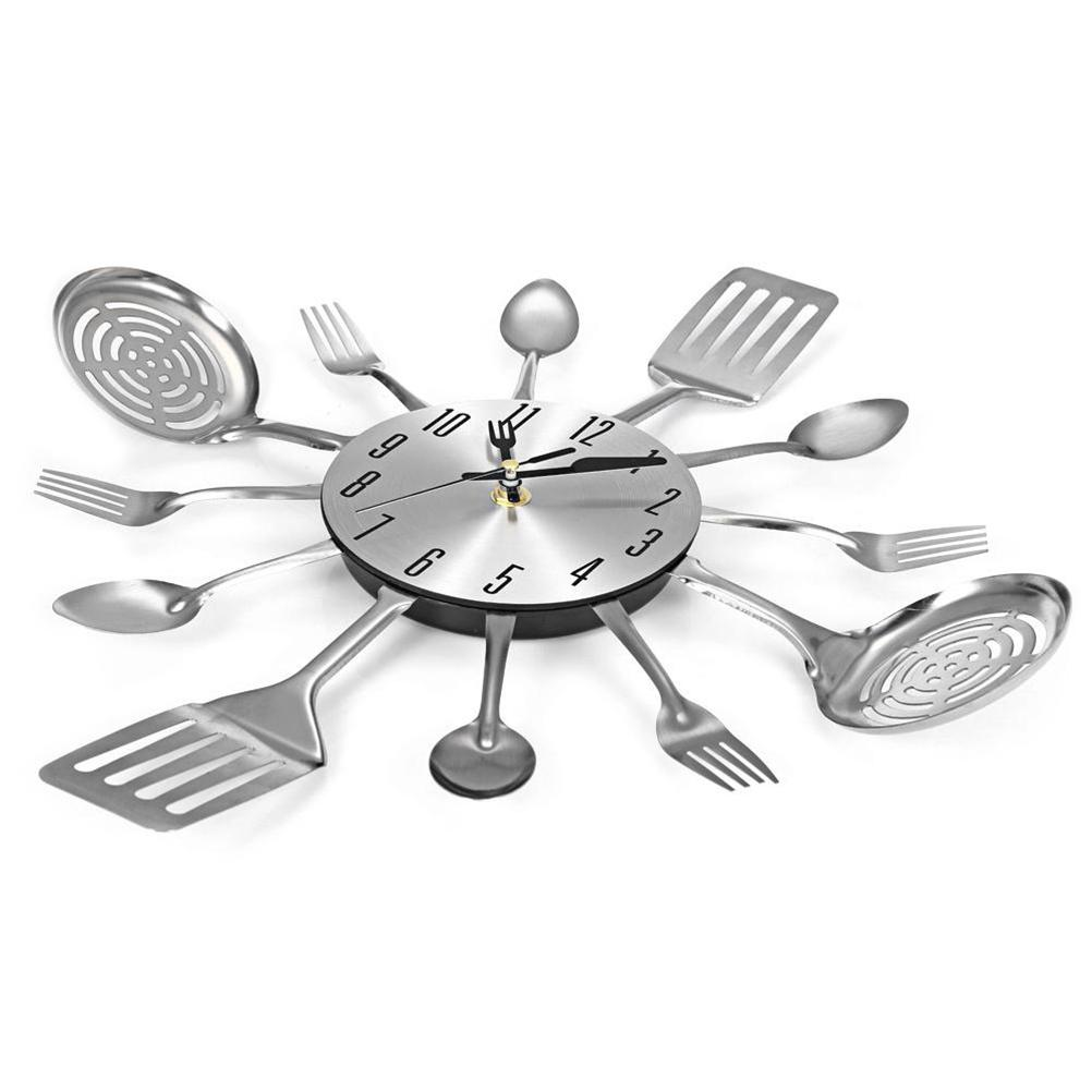 Besteck Design Wanduhr Metall Messer Gabel Löffel Küche Uhren Kreative  Moderne Wohnkultur Einzigartige Stil Wanduhr (Silber)