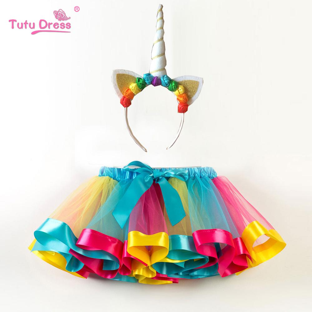 3bcdcb292e Fashion Sweet Toddler Kids Baby Girls Clothes Tutu Skirt Outfits Unicorn  Cute Children Tulle Skirt + headband Rainbow