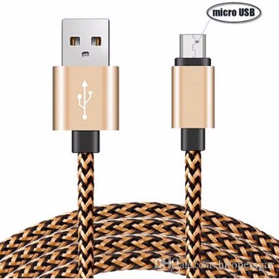 Cavo del caricatore di sincronizzazione dati USB in nylon intrecciato in lega di alluminio 1M 2M Cavo Samsung Android tipo c