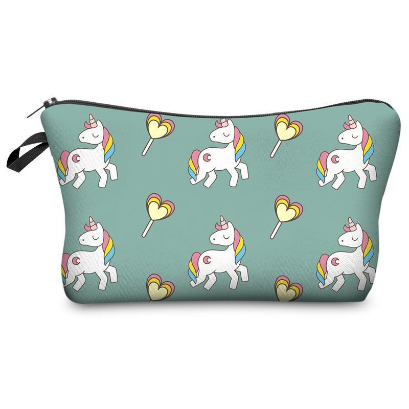 Fashion 28 Styles Unicorn 3D Digital Printing Cosmetic Bag Kids Small Storage Keys Holder Cute Gifts Package Travel Wash Bags 22*13.5CM M040