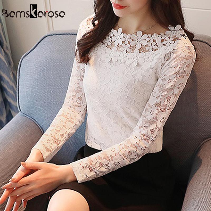 b46949b1f4a2 Tops de encaje mujer blusa de manga larga camisa otoño 2018 otoño coreano  NUEVA moda elegante flor de flores ropa señoras camisas de oficina