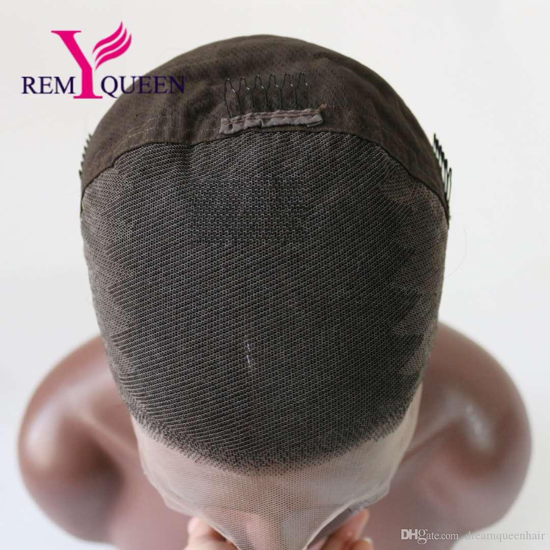 Remy Queen 8A T1B/Gray Silk Straight Front Lace Wig 100% Human Hair 120% Density Natural Hairline With Baby Hair Bleached Knots