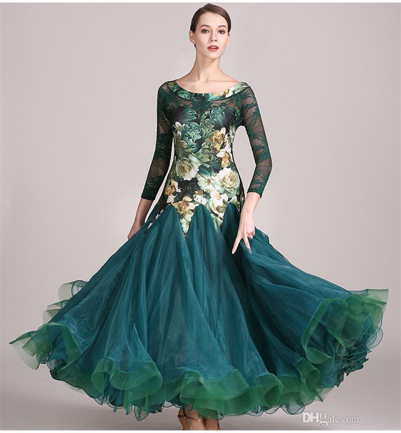 Grüner schwarzer Erwachsener / Mädchen-Ballsaal-Tanz-Kleid-moderner Walzer-Standardwettbewerb Tanz-Kleid-Qualitäts-Spitze-Hülsen-Blume druckte Kleid