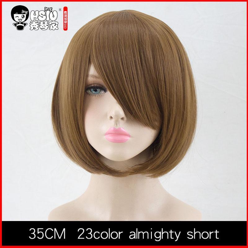 Parrucca HSIU 35 cm corta Nero bianco viola blu rosso giallo fibra ad alta temperatura Parrucche sintetiche Parrucca Cosplay Party Costume i