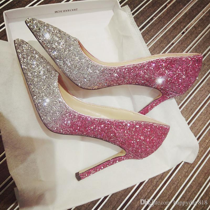 b20ab57785 Free shipping fashion women pumps sexy Pink silver Glitter strass heeled  point toe shoes Pumps bride wedding boots