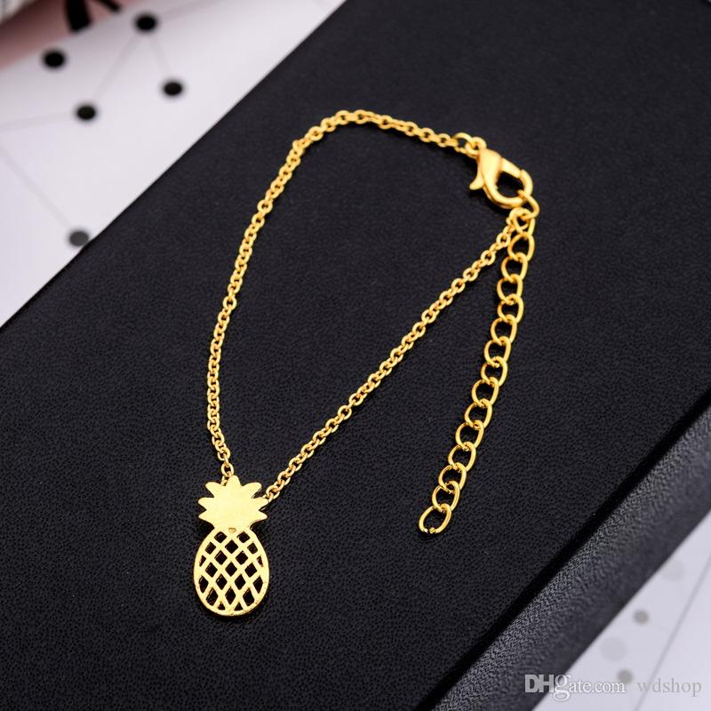 Summer Hollow Pineapple Anklet Bracelet Cute Fruit Pendant Charm Bracelets Ankle Chains For Women Beach Holidays Jewelry