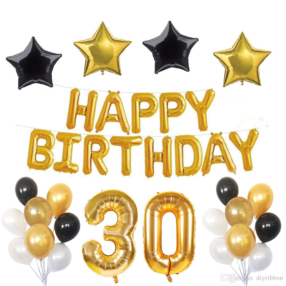 2018 Birthday Party Decorations Kit, Happy Birthday Banner,Gold ...