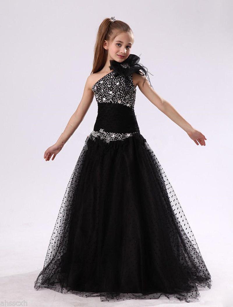 84141a931ca Pageant Kids Gown Black One Shoulder Beading Flower Girl Dresses For Wedding  Girl S Floor Length Child Party Birthday Dress 17flgB348 Little Flower Girl  ...
