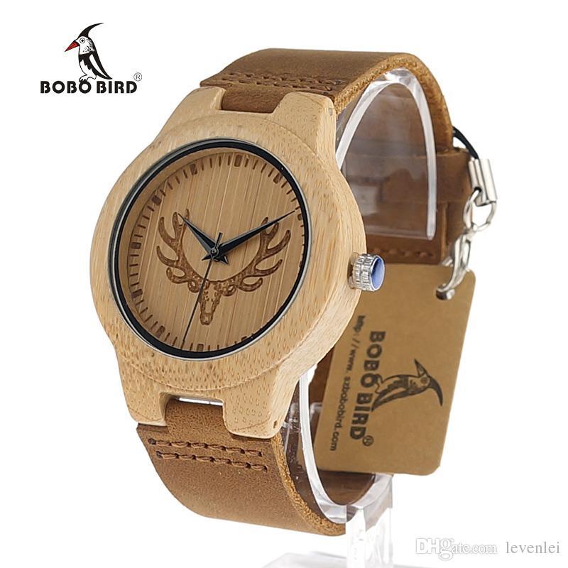 4d58067b2b5 Bobo bird cervos cabeça relógio de madeira antigo genuíno couro banda de  couro amantes de luxo relógios de bambu de madeira de quartzo relógio de  pulso ...