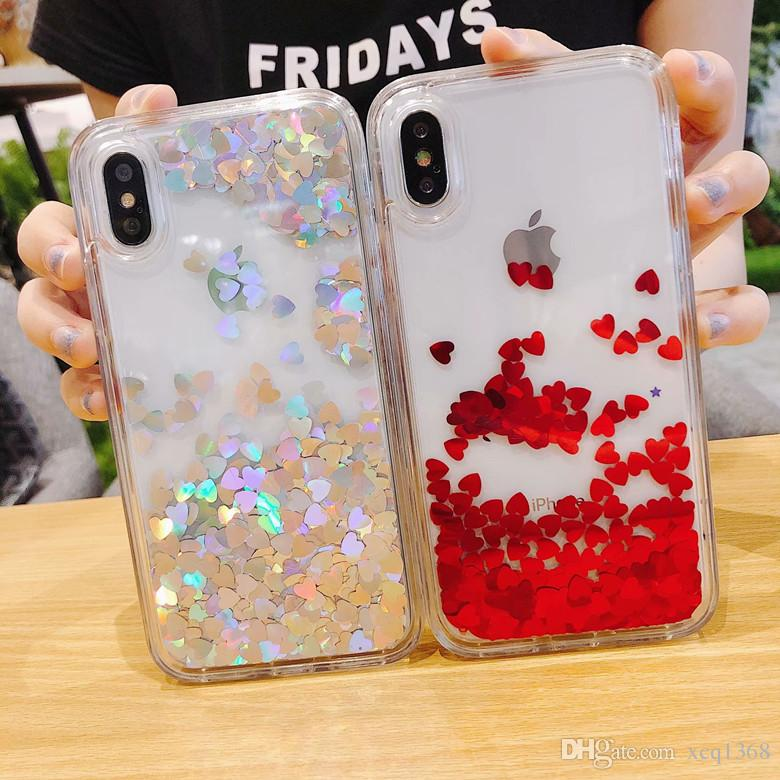 Transparente Telefonkästen Fun Glitter Heart-shaped Star Quicksand Liquid Phone Rückseite für iPhone X XS Max XR 7 8 8plus