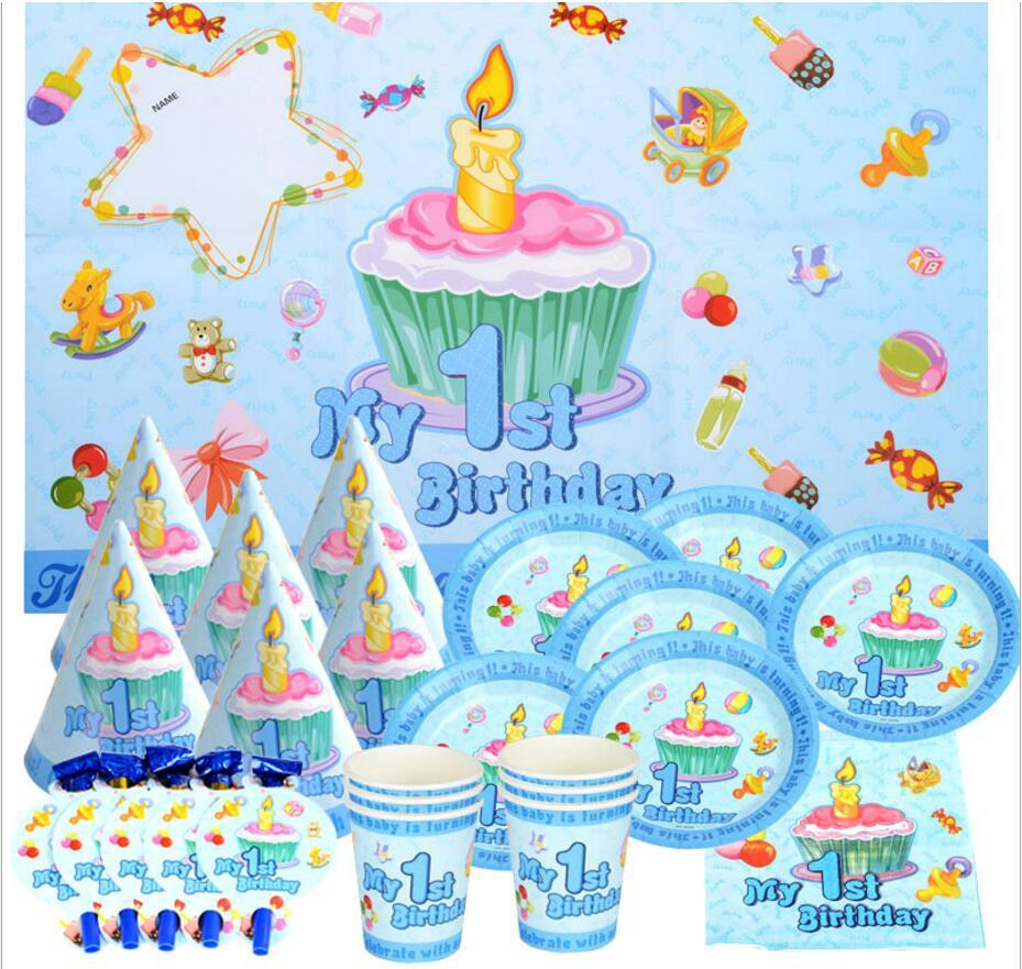 2018 First Birthday Boys Girls 1st Party Decoration Plate Cup Straw Napkins Tablecloth For 6kids Supplies From Mudanflower 2358