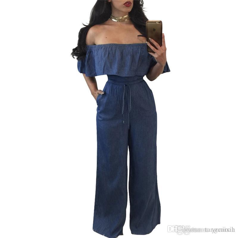 1aeb1661207 2018 Wholesale Women Sexy Off Shoulder Rompers Elelgant Wide Leg High Waist  Bodycon Blue Denim Jumpsuit From Tangcaixia